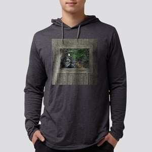 Old Cabin Window Bald Eagle Mens Hooded Shirt