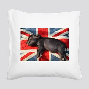 Micro pig sleeping on Union cushion Square Canvas