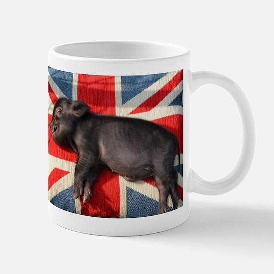 Micro pig sleeping on Union cushion Mug