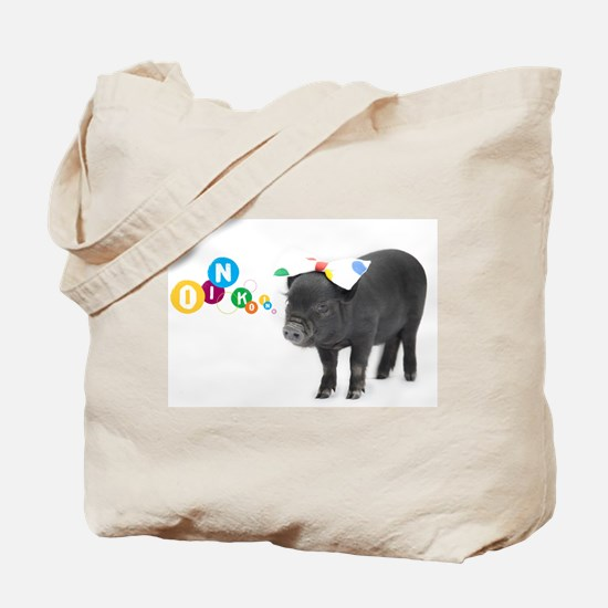 Little female micro pig with bow Tote Bag