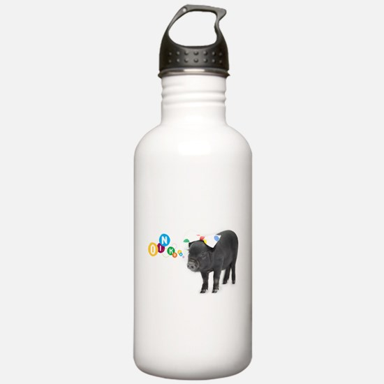 Little female micro pig with bow Water Bottle