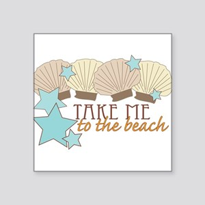 "To The Beach Square Sticker 3"" x 3"""