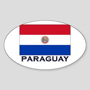 Paraguay Flag Stuff Oval Sticker