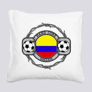 Colombia Soccer Square Canvas Pillow