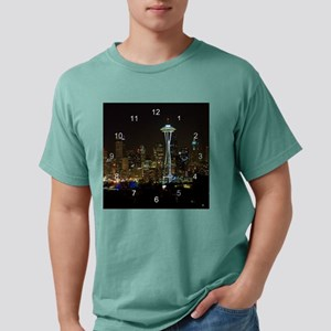 seattle at night clock 2 Mens Comfort Colors Shirt