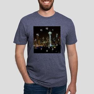 seattle at night clock 2.pn Mens Tri-blend T-Shirt