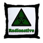 Green Radioactive Symbol Throw Pillow