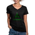 Green Radioactive Symbol Women's V-Neck Dark T-Shi