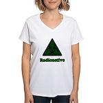 Green Radioactive Symbol Women's V-Neck T-Shirt