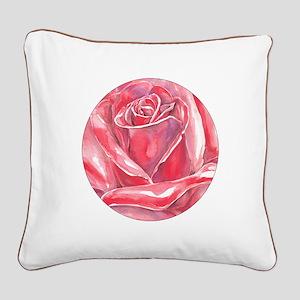 big red rose blossom Square Canvas Pillow