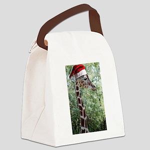 Christmas Giraffe Canvas Lunch Bag