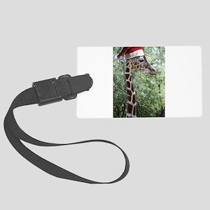 Christmas Giraffe Large Luggage Tag