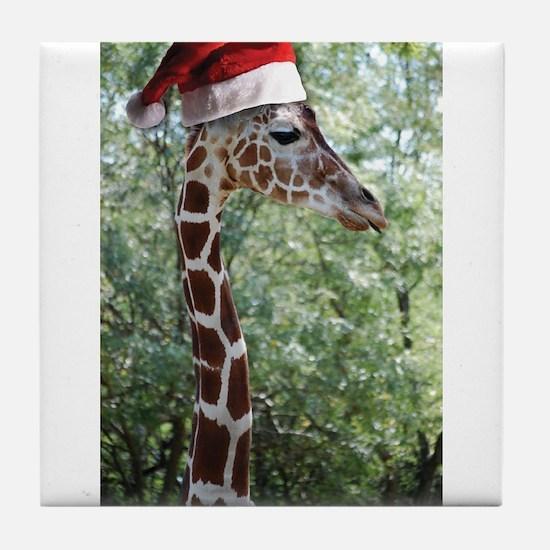 Christmas Giraffe Tile Coaster