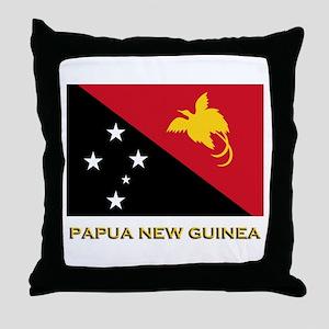 Papua New Guinea Flag Gear Throw Pillow