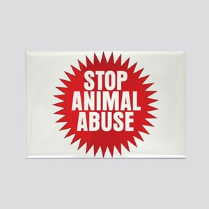 Stop Animal Abuse Rectangle Magnet