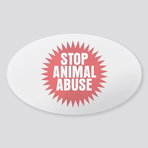 Stop Animal Abuse Sticker (Oval)