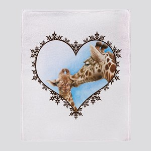 Giraffe & Calf Snowflake Heart Throw Blanket