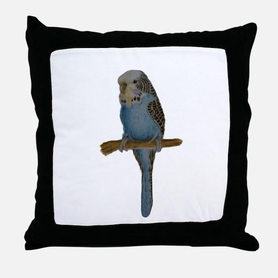 Blue Budgie Art Throw Pillow