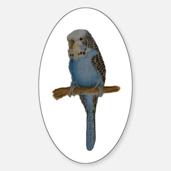 Blue Budgie Art Sticker (Oval)