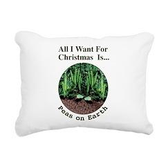 Xmas Peas on Earth Rectangular Canvas Pillow