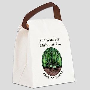 Xmas Peas on Earth Canvas Lunch Bag