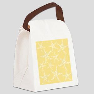 Dotty Starfish, Yellow. Canvas Lunch Bag