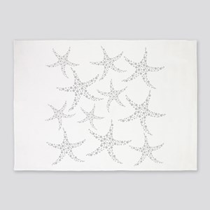 Dotty Gray Starfish. 5'x7'Area Rug