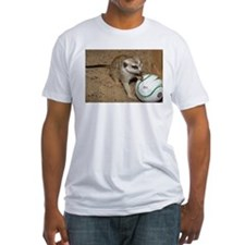 Meerkat on Soccer Ball Fitted T-Shirt
