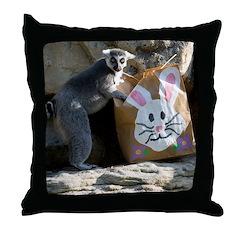 Lemur In Easter Bag Throw Pillow