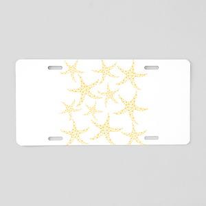 Yellow Dotty Starfish. Aluminum License Plate