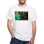 Monkey With Shamrock White T-Shirt