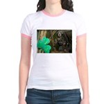 Monkey With Shamrock Jr. Ringer T-Shirt