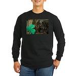 Monkey With Shamrock Long Sleeve Dark T-Shirt