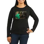 Monkey With Shamrock Women's Long Sleeve Dark T-Sh