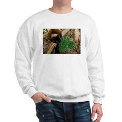 Red Ruffed Lemur Eating Shamrock Sweatshirt