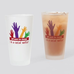 Work For Change Drinking Glass