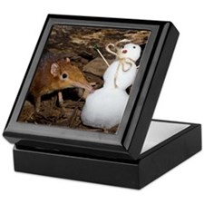 Elephant Shrew with Snowman Keepsake Box