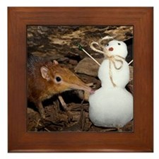 Elephant Shrew with Snowman Framed Tile