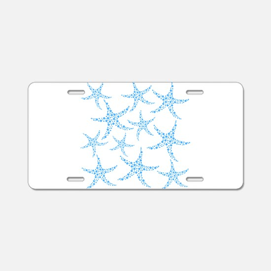 Blue Dotty Starfish Pattern. Aluminum License Plat