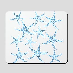 Blue Dotty Starfish Pattern. Mousepad
