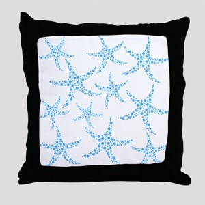 Blue Dotty Starfish Pattern. Throw Pillow