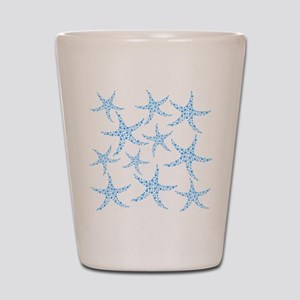 Blue Dotty Starfish Pattern. Shot Glass
