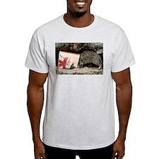 Ocelot in Snowman Bag Light T-Shirt