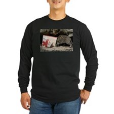 Ocelot in Snowman Bag Long Sleeve Dark T-Shirt