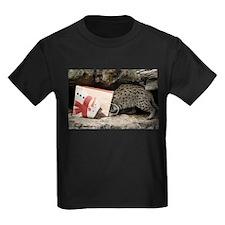 Ocelot in Snowman Bag Kids Dark T-Shirt