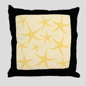 Yellow Starfish Pattern. Throw Pillow