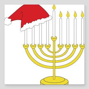 "Hanukkah And Christmas Square Car Magnet 3"" x 3"""