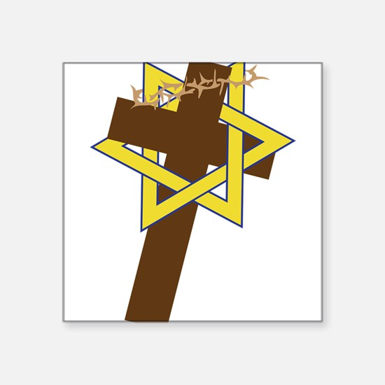 "Star And Cross Square Sticker 3"" x 3"""
