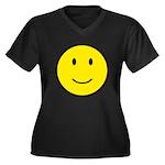 Happy Face Smiley Women's Plus Size V-Neck Dark T-