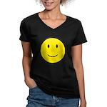Happy Face Smiley Women's V-Neck Dark T-Shirt